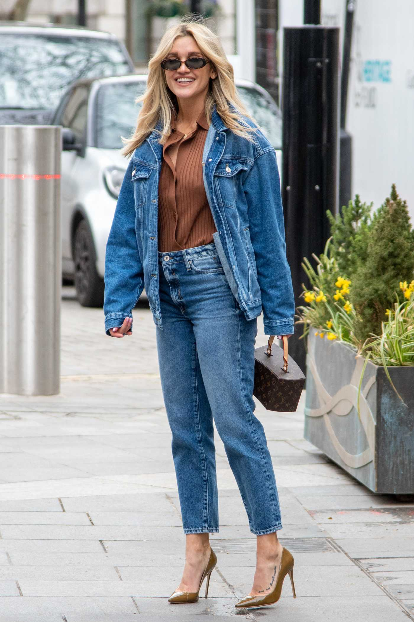 Ashley Roberts in a Blue Denim Suit Leaves the Heart Radio in London 03/26/2021