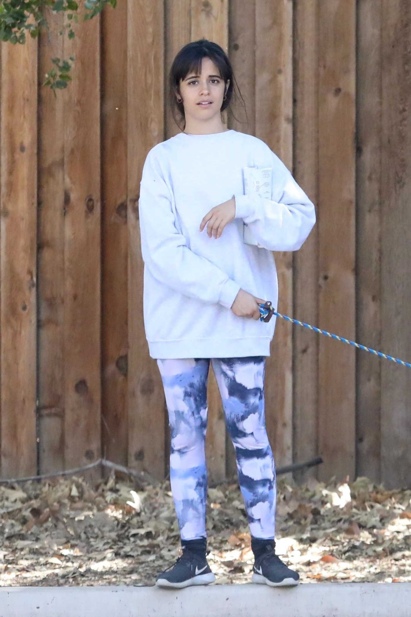 Camila Cabello in a White Sweatshirt Walks Her Dog Out with Shawn Mendes in Los Angeles 03/19/2021