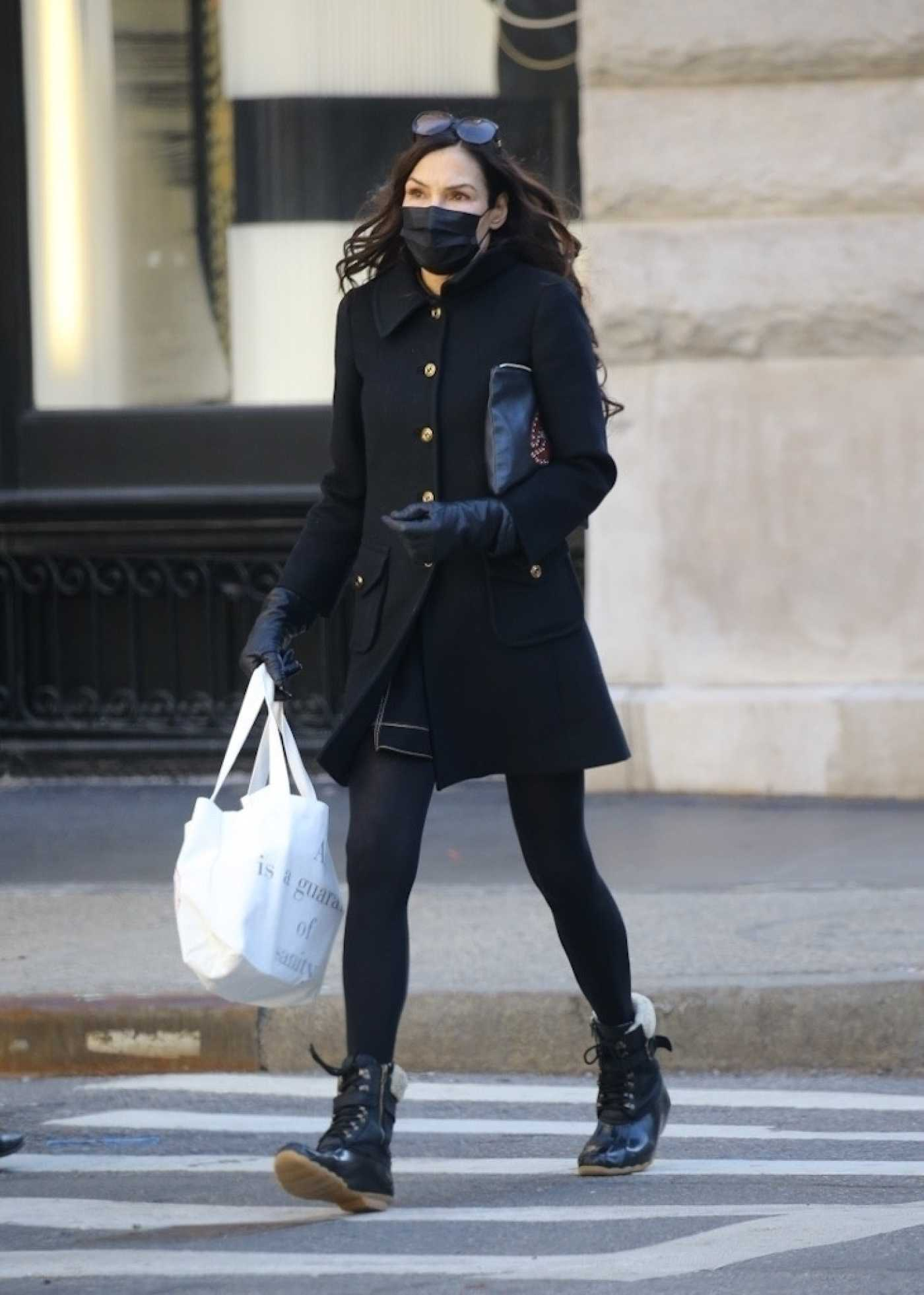 Famke Janssen in a Black Outfit Was Seen Out in New York 03/08/2021