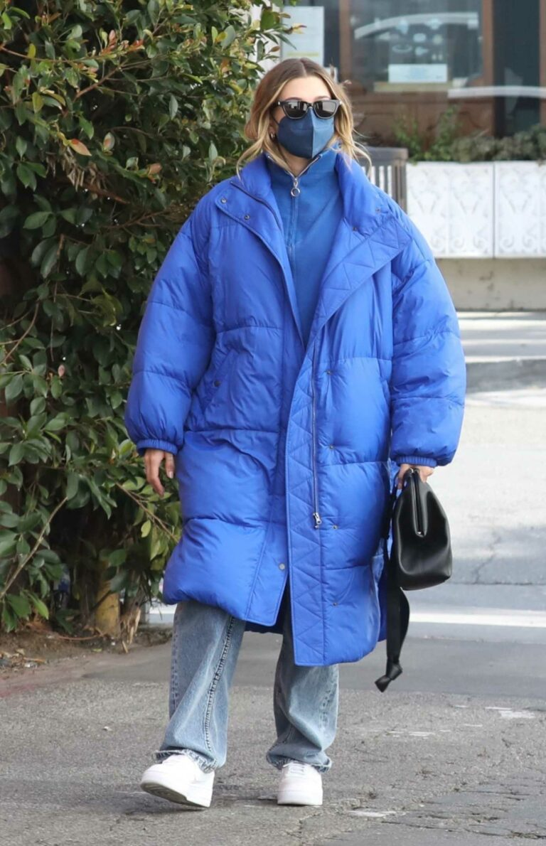 Hailey Baldwin in a Blue Puffer Coat