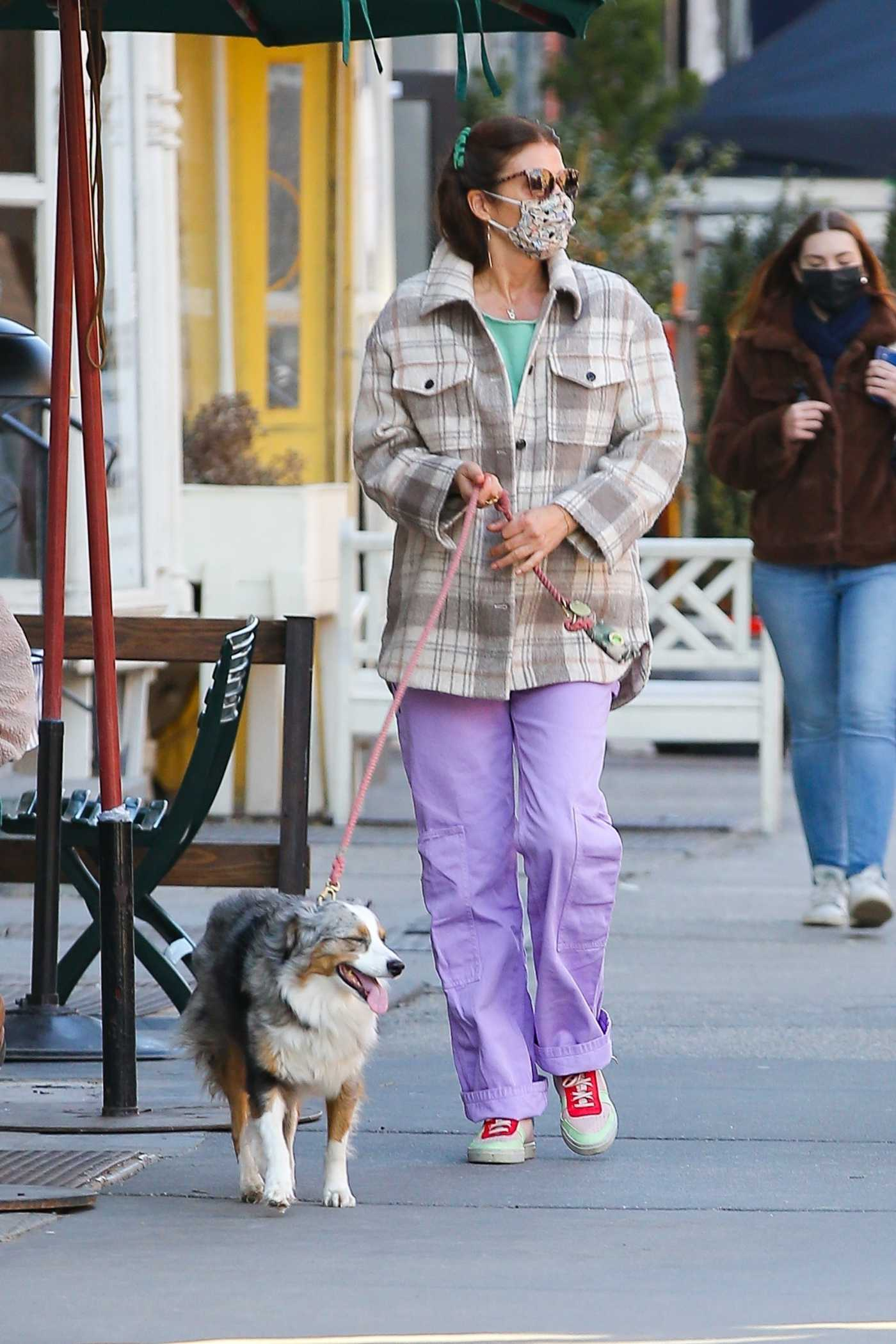 Helena Christensen in a Lilac Pants Walks Her Dog in New York 03/03/2021
