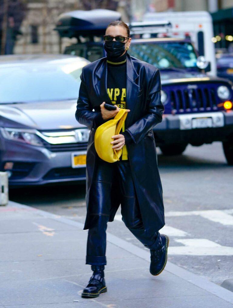 Irina Shayk in a Blue Leather Coat