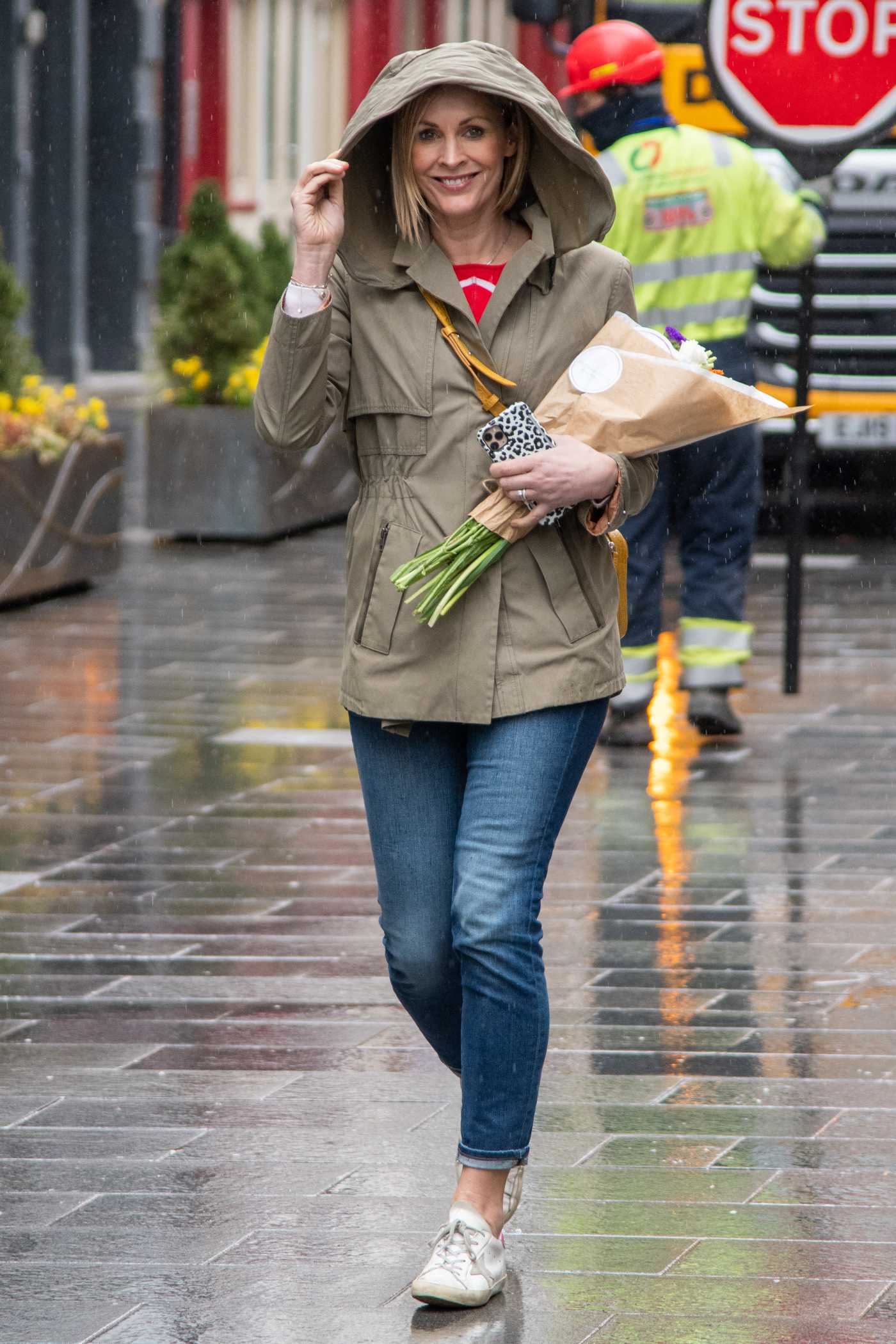 Jenni Falconer in an Olive Jacket Leaves the Global Studios in London 03/10/2021