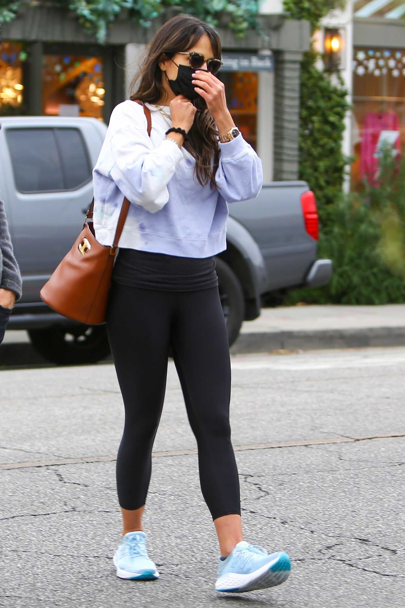 Jordana Brewster in a Black Leggings Stops by Caffe Luxxe Out with Mason Morfit in Brentwood 03/03/2021