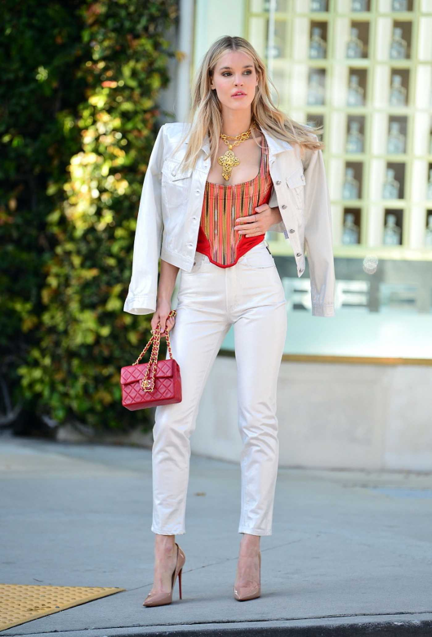 Joy Corrigan in a White Suit Does a Fashion Photoshoot in Beverly Hills 03/24/2021