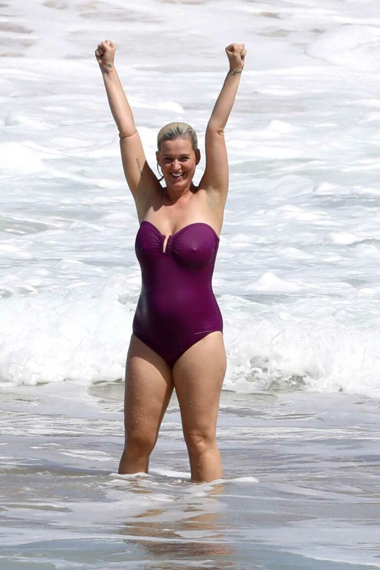 Katy Perry in a Purple Swimsuit