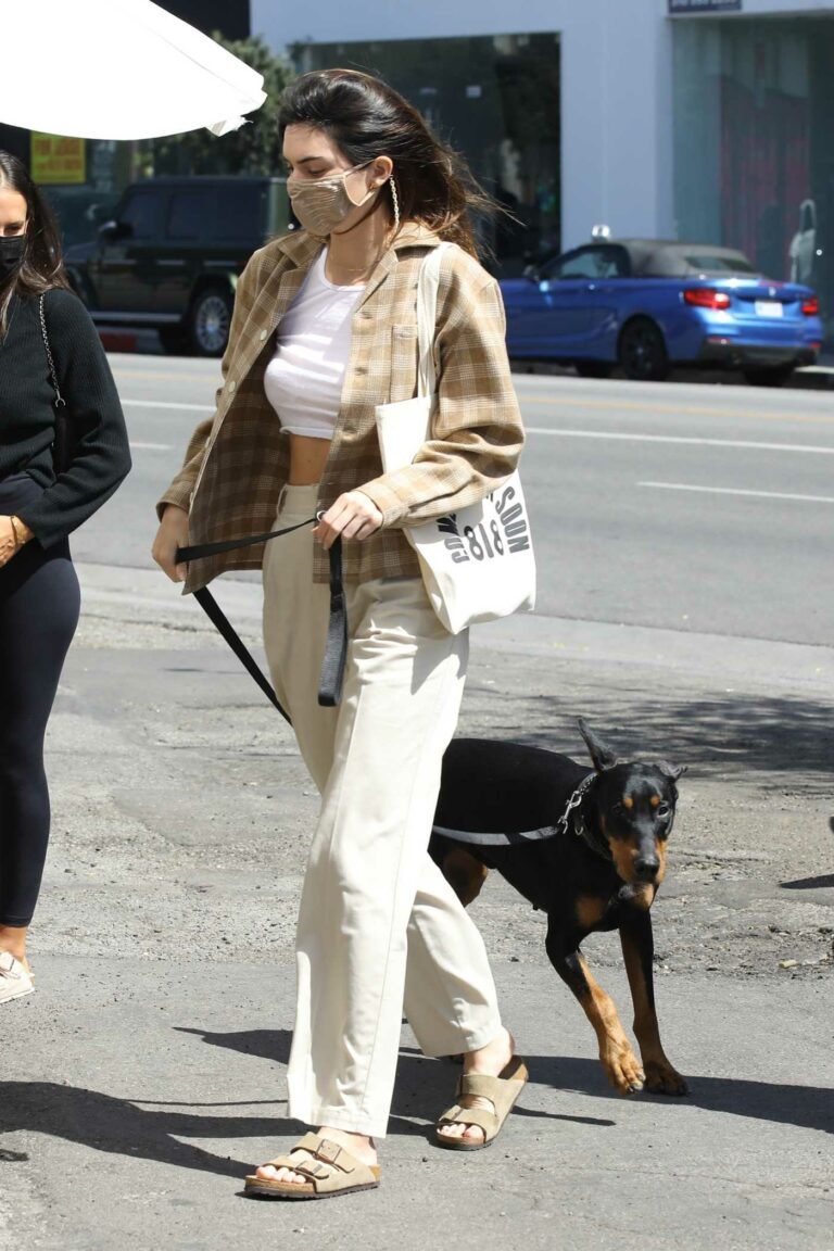 Kendall Jenner in a Beige Pants