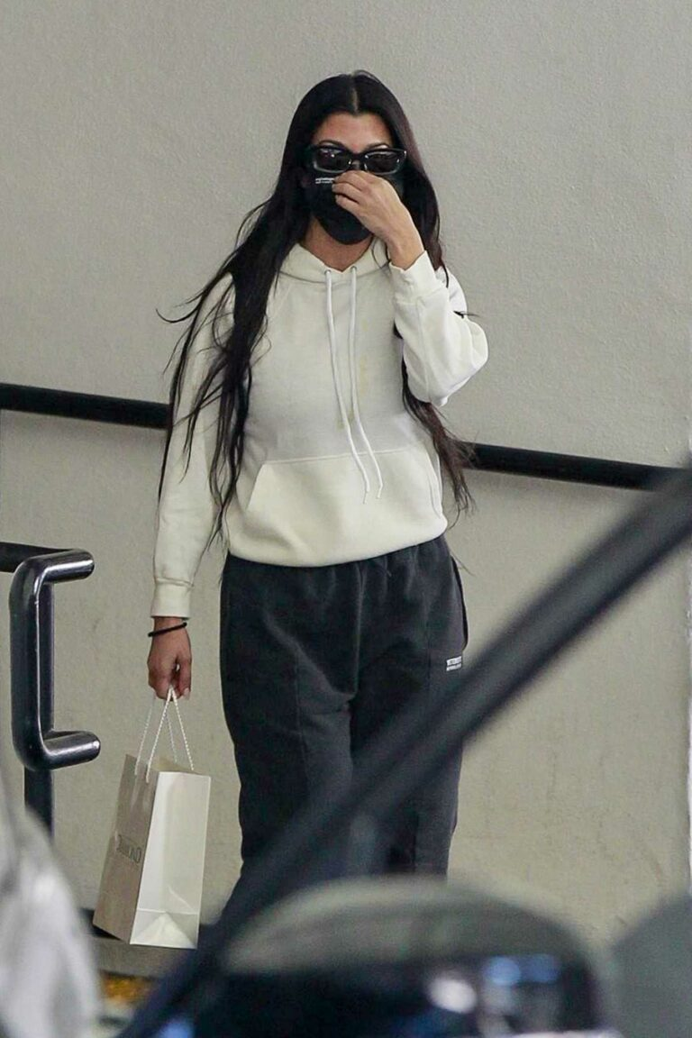 Kourtney Kardashian in a White Hoodie