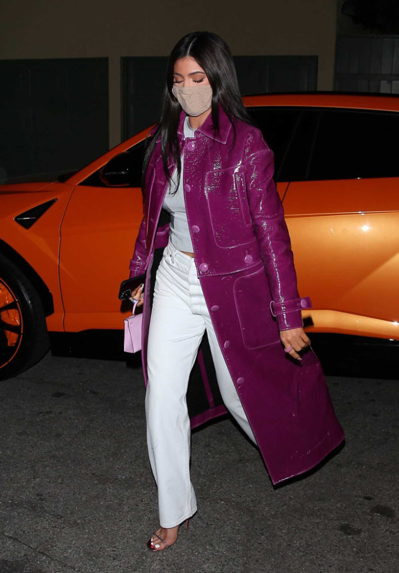 Kylie Jenner in a Lilac Leather Coat Steps Out to Dinner at Craigs in West Hollywood 03/07/2021