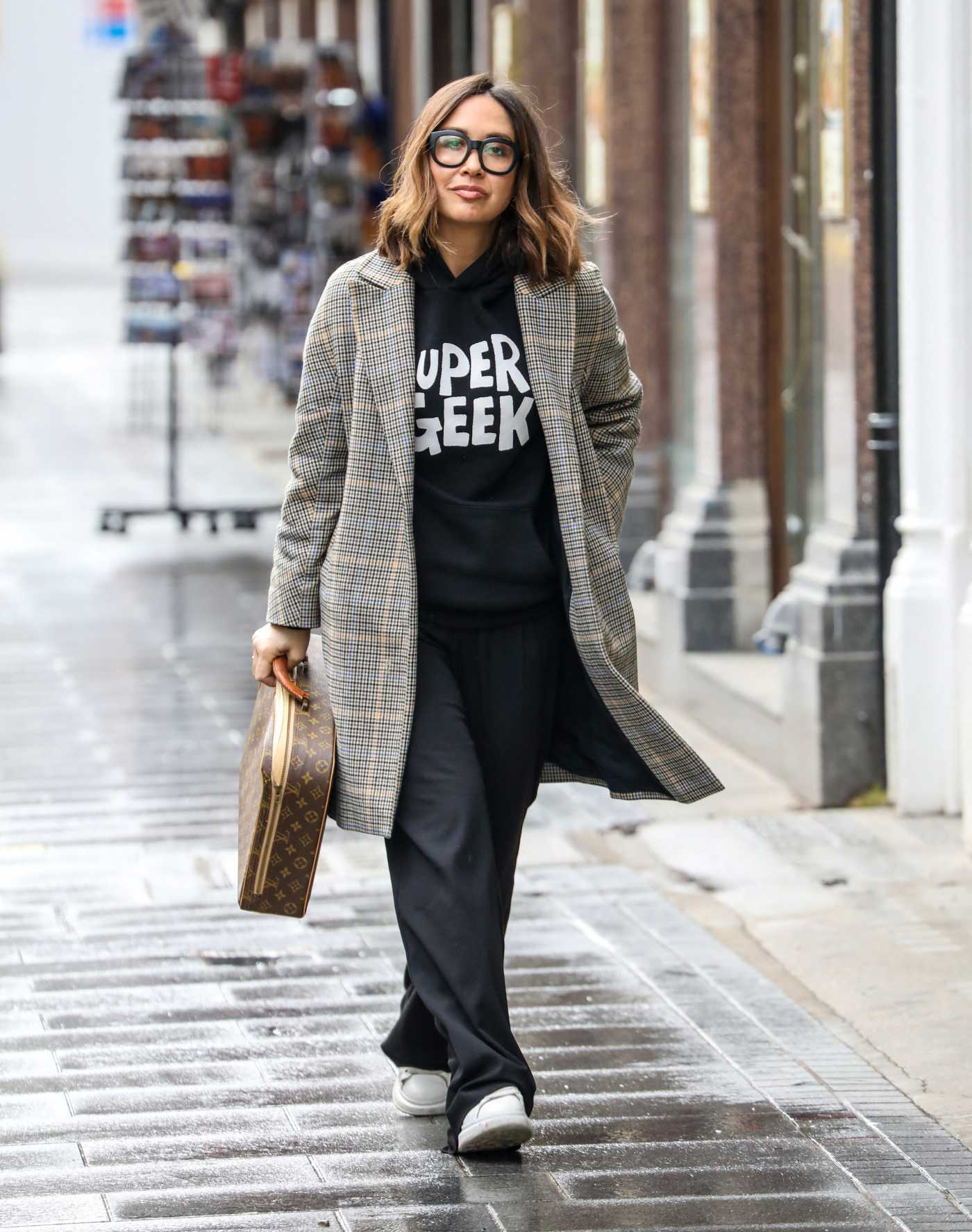 Myleene Klass in a Black Pants Arrives at the Global Radio Studios in London 03/25/2021
