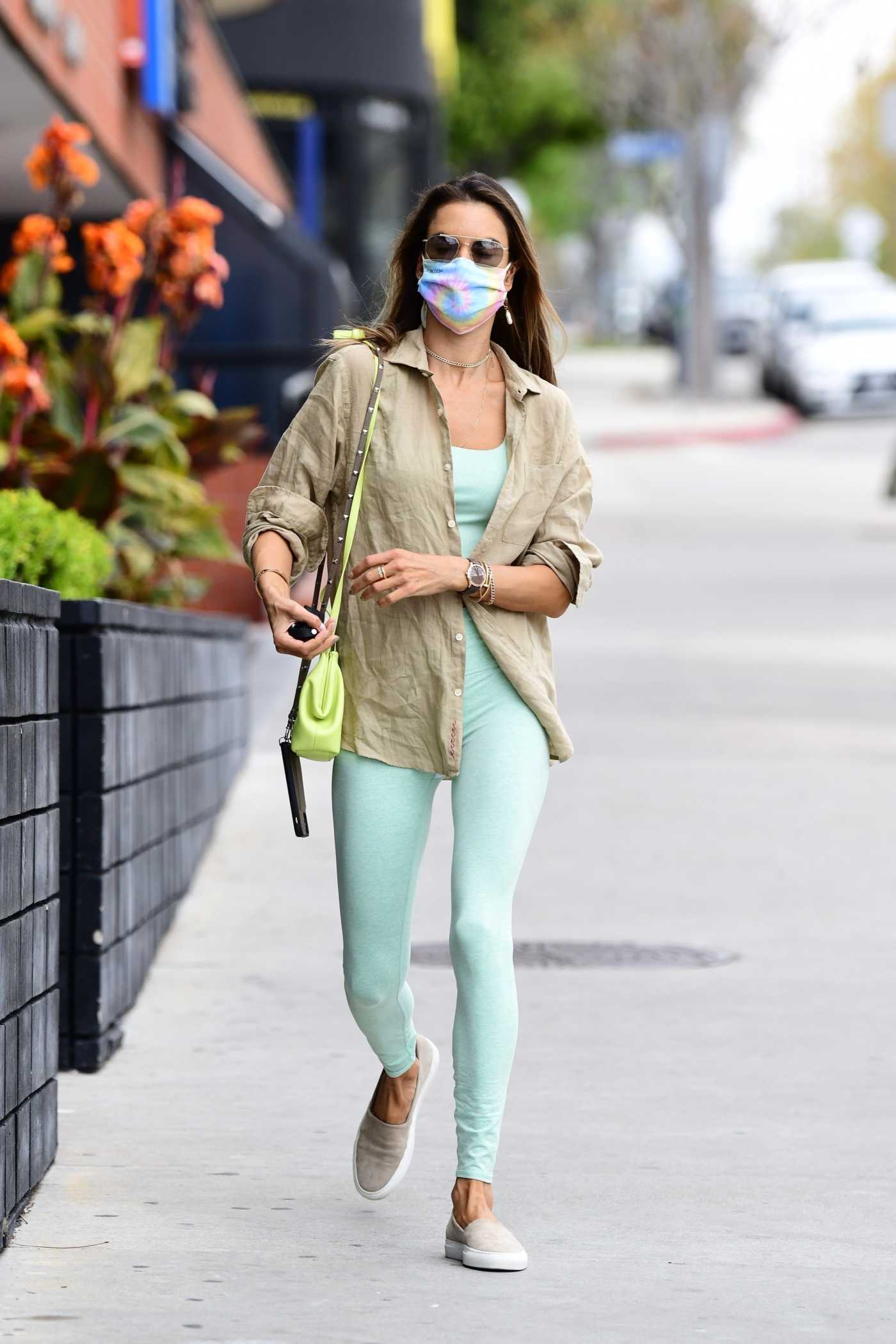 Alessandra Ambrosio in a Beige Shirt Was Seen Out in Brentwood 04/01/2021