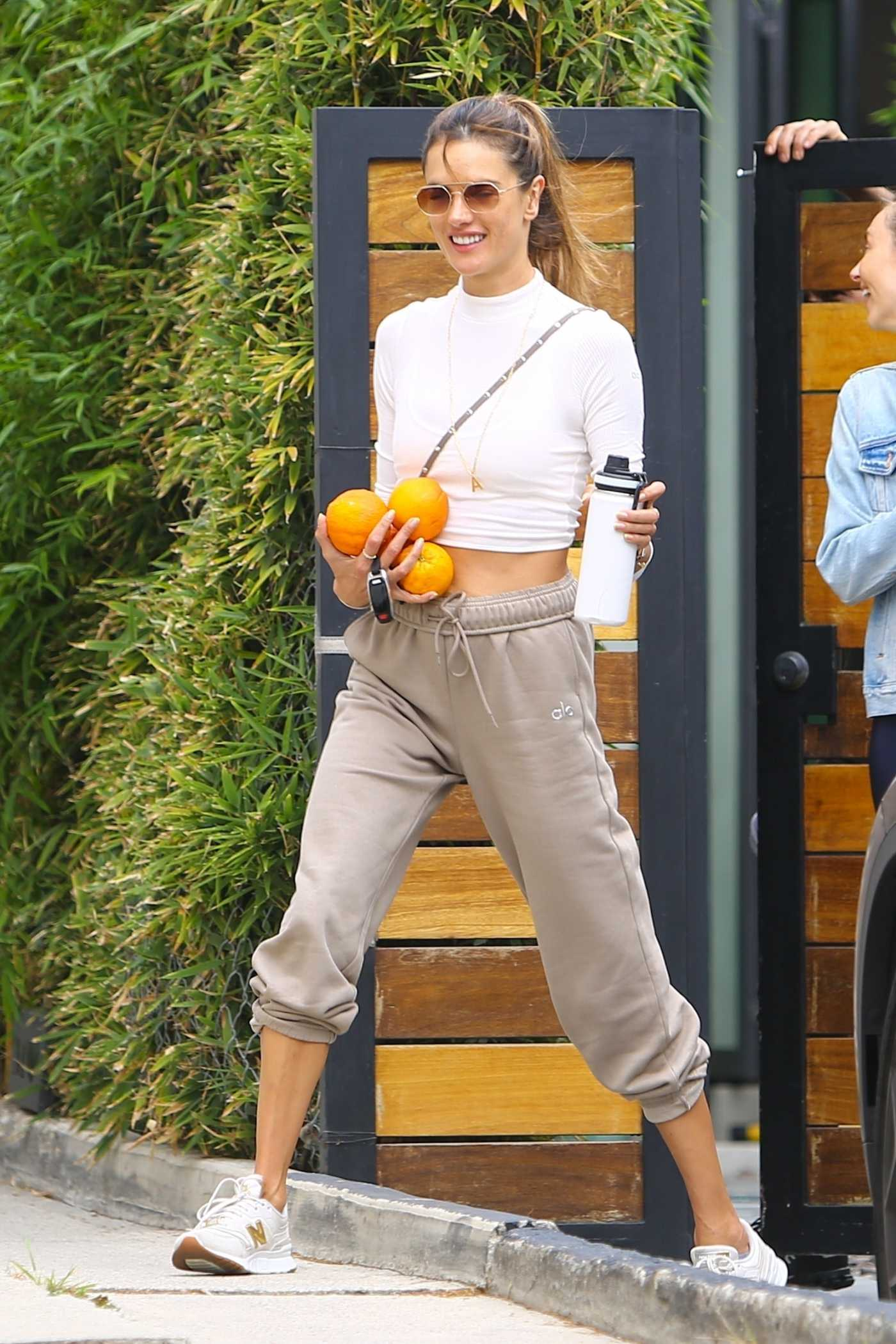 Alessandra Ambrosio in a White Sneakers Leaves Her Pilates Session in Beverly Hills 04/22/2021