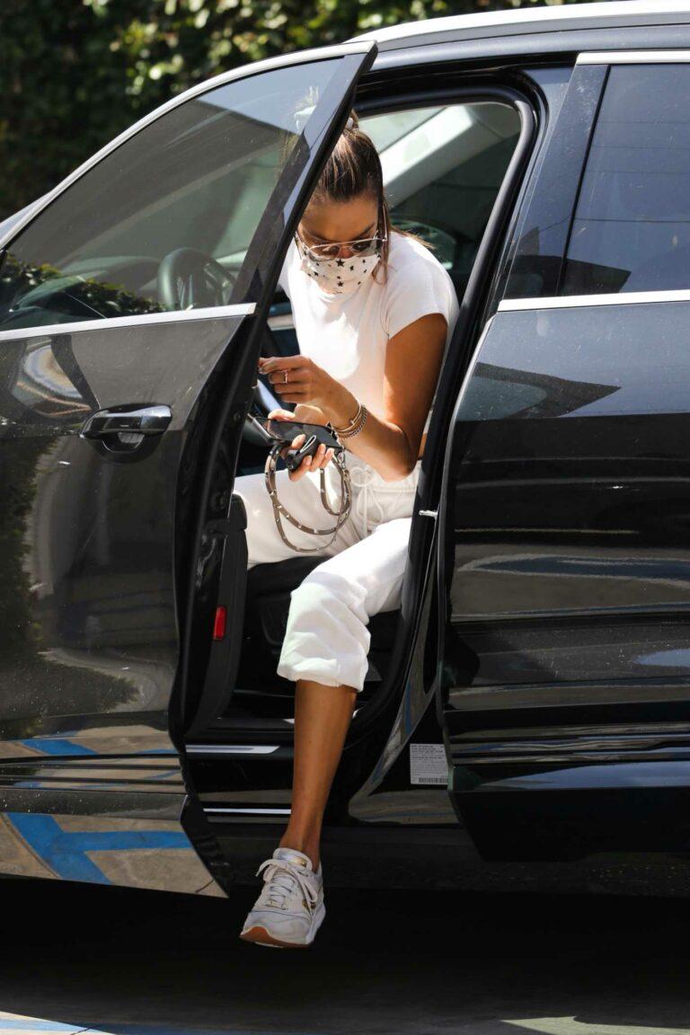 Alessandra Ambrosio in a White Sweatpants
