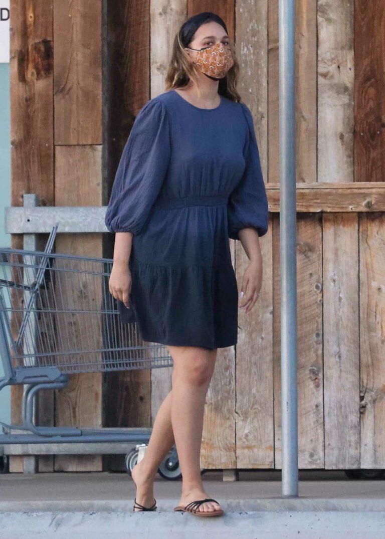 April Love Geary in a Blue Dress