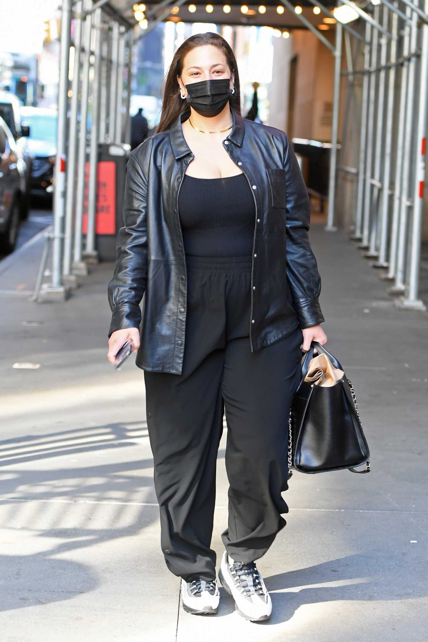 Ashley Graham in a Black Outfit Arrives at the Michael Kors Fashion Show in New York 04/08/2021