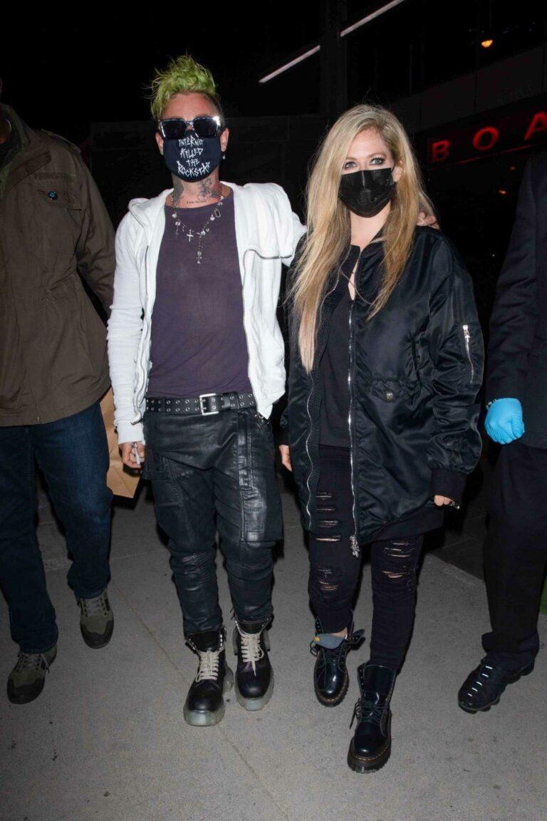 Avril Lavigne in a Black Bomber Jacket