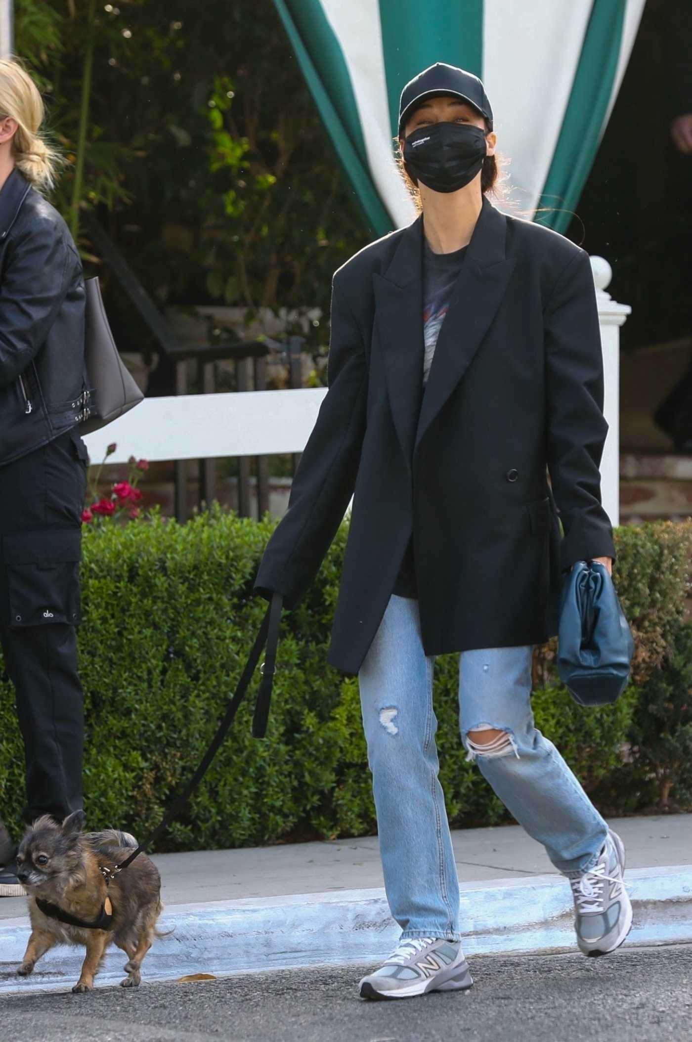 Cara Santana in a Black Blazer Walks Her Dog in West Hollywood 04/15/2021