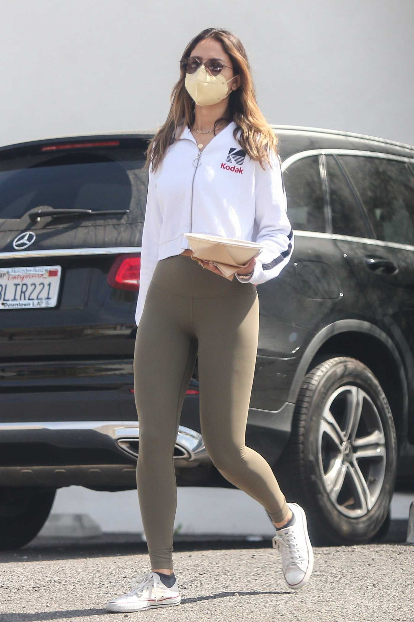 Eiza Gonzalez in an Olive Leggings Goes Shopping at a Beauty Supply Store in Studio City 04/05/2021