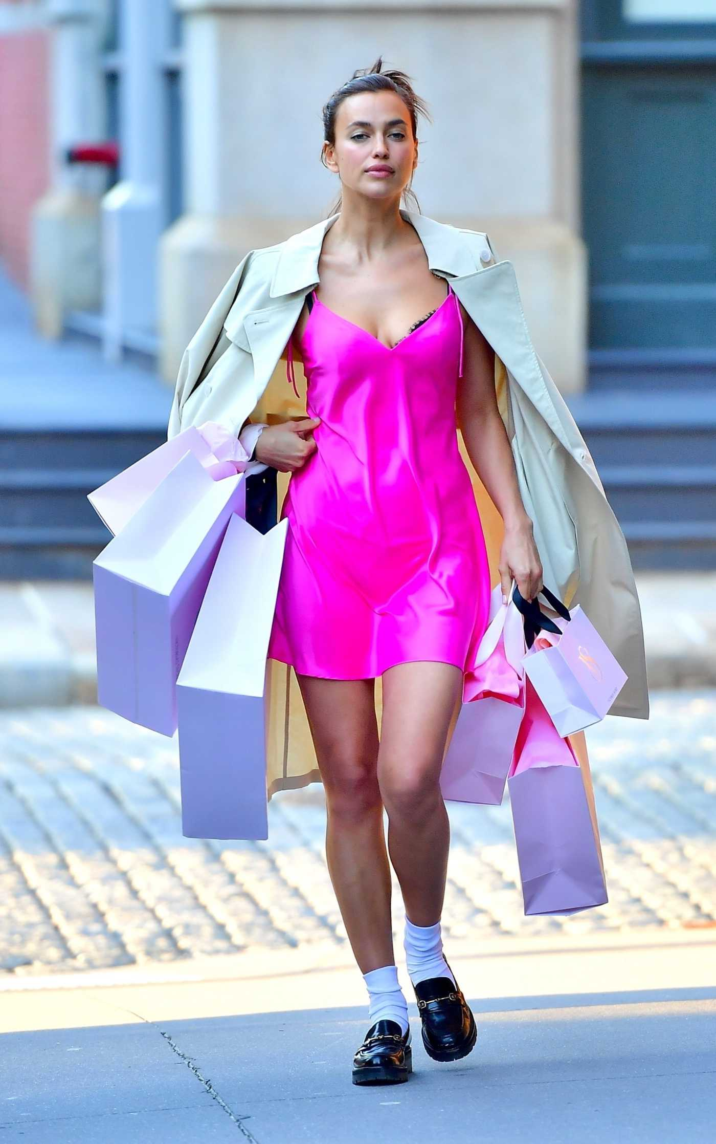 Irina Shayk in a Pink Mini Dress Was Seen on Location for a Victoria's Secret Photoshoot in Tribeca, New York 04/13/2021