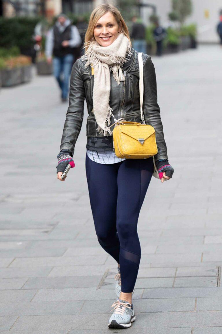 Jenni Falconer in a Black Leather Jacket