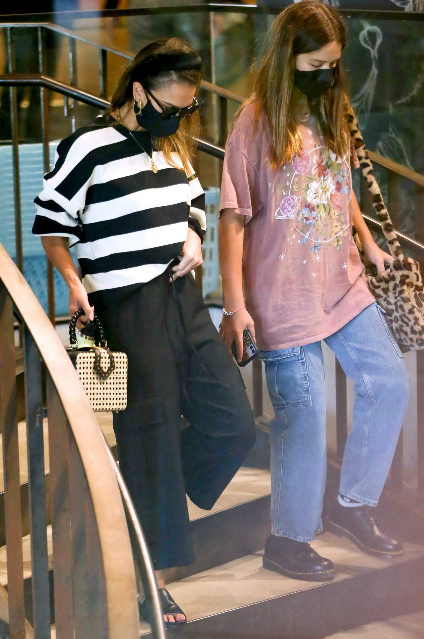 Jessica Alba in a Striped Sweater Was Seen Out in Los Angeles 03/30/2021