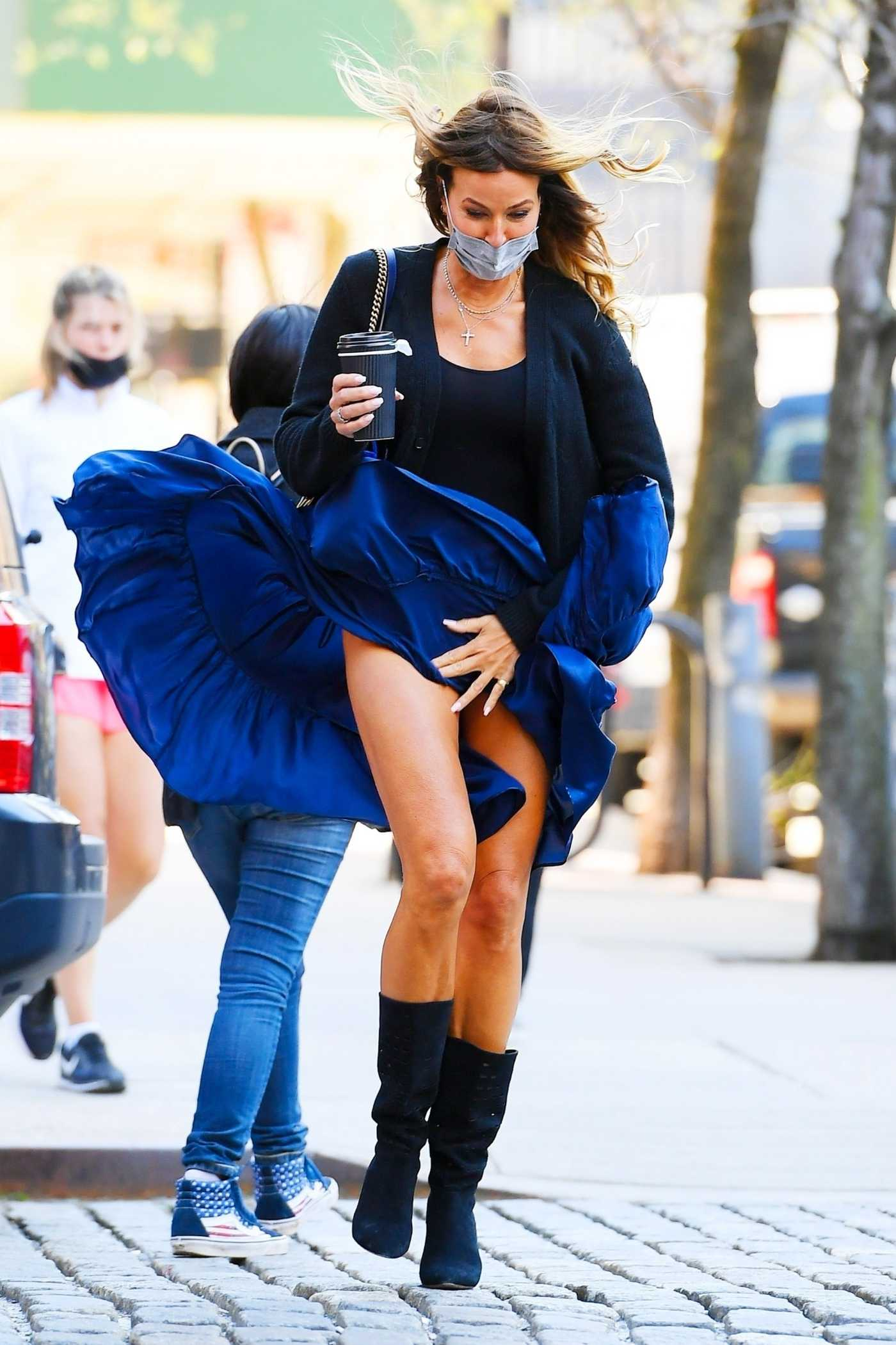 Kelly Bensimon in a Blue Skirt Was Seen Out in New York 04/05/2021