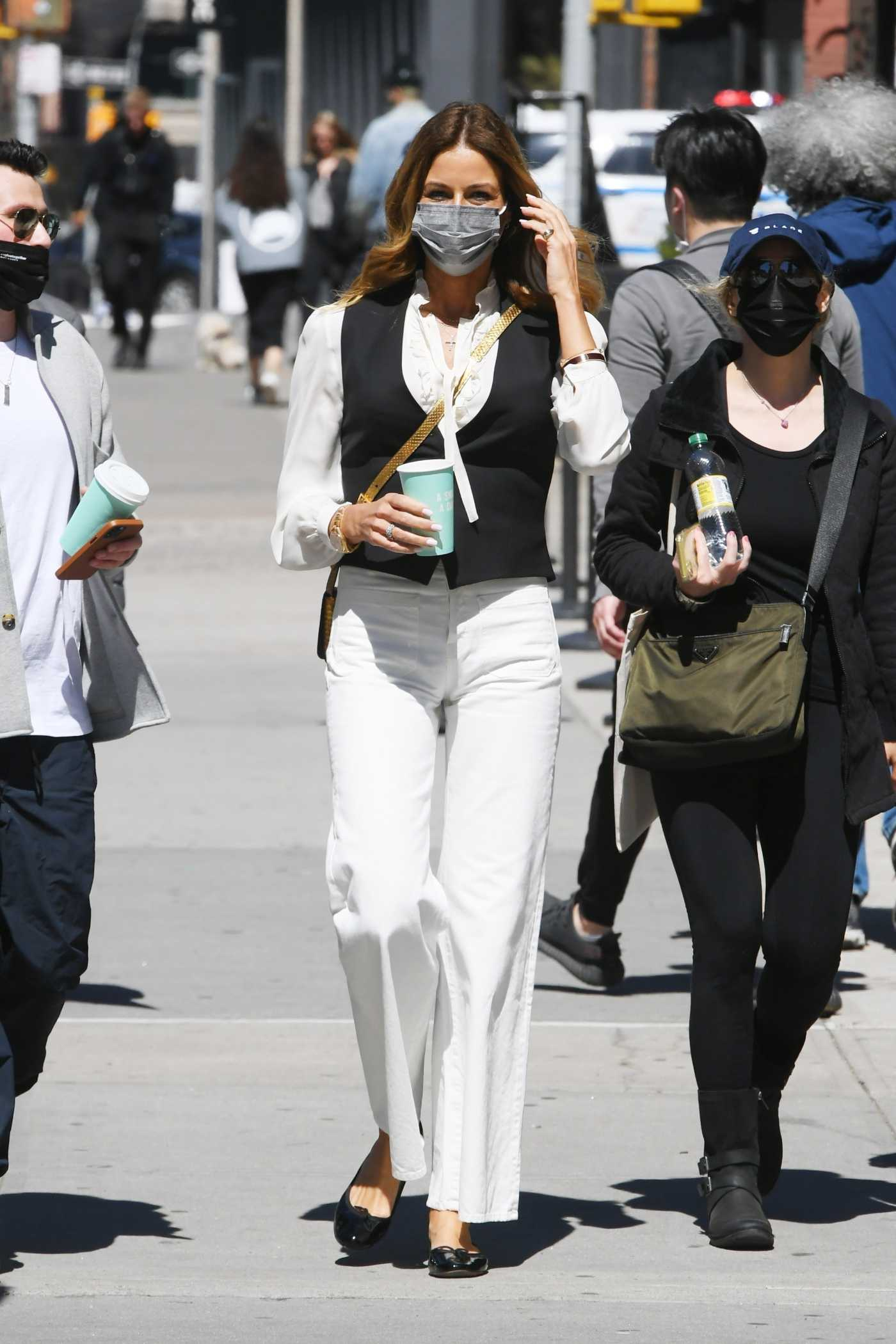 Kelly Bensimon in a White Blouse Was Seen Out with Friends in SoHo, New York 04/13/2021
