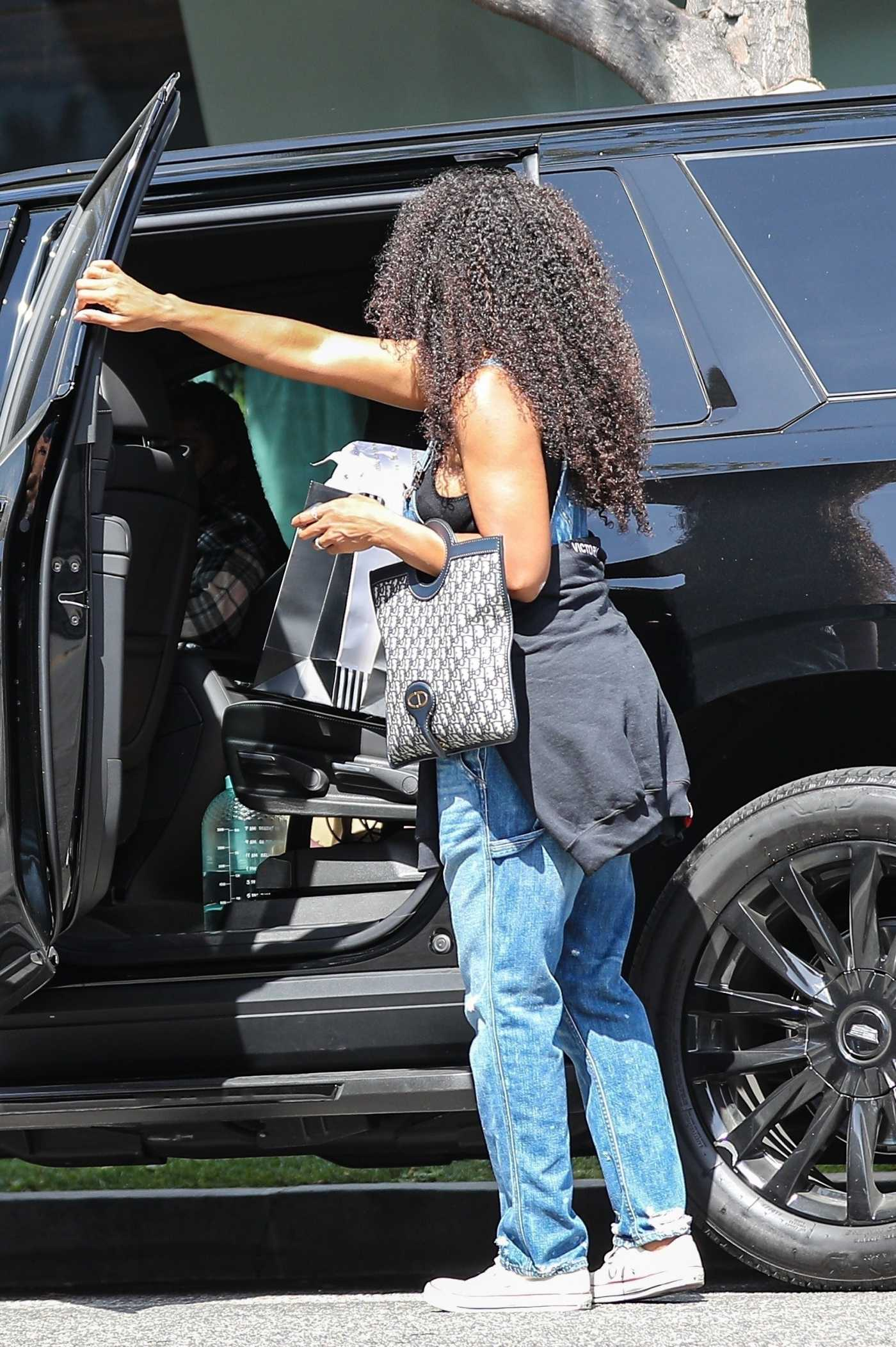 Kelly Rowland in a Blue Denim Jumpsuit Shops at Couture Kids in West Hollywood 04/05/2021