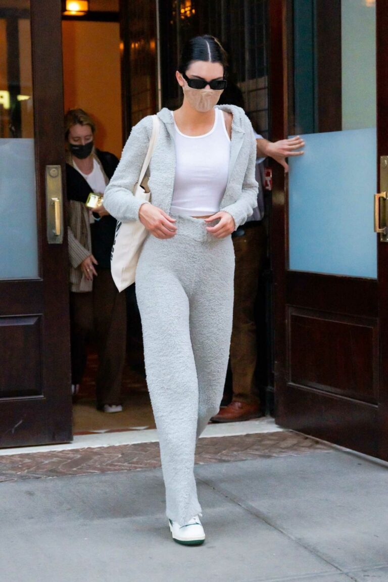 Kendall Jenner in a Grey Sweatsuit