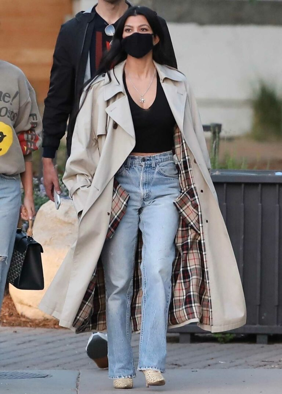 Kourtney Kardashian in a Beige Trench Coat