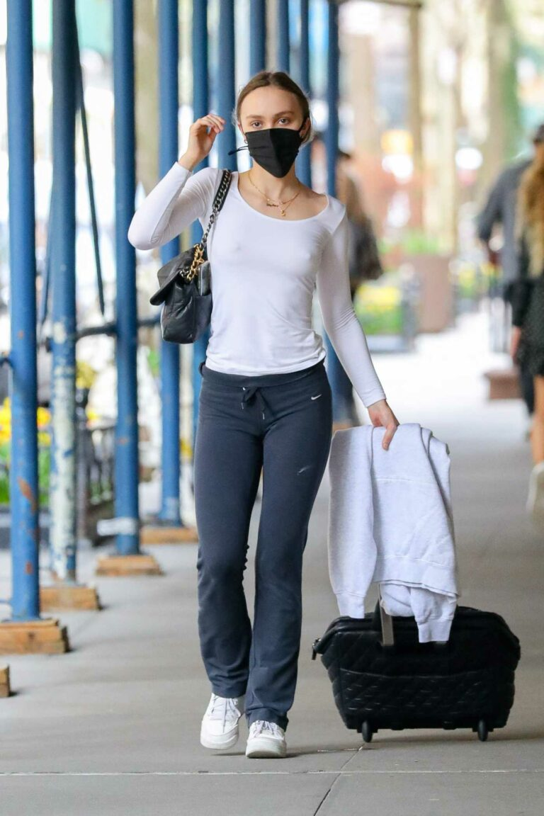 Lily-Rose Depp in a White Long Sleeves T-Shirt