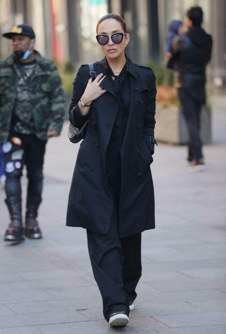 Myleene Klass in a Black Trench Coat