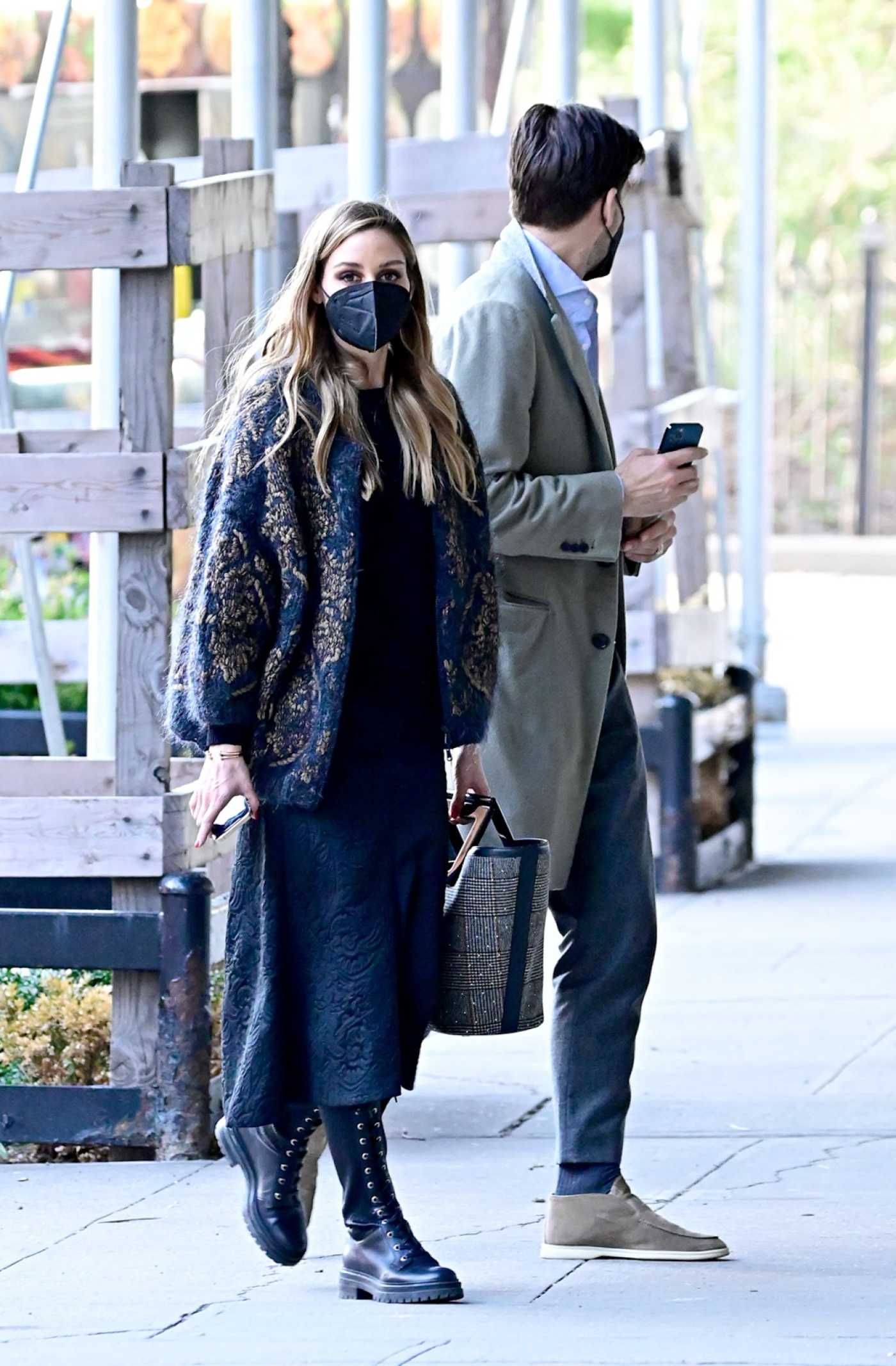 Olivia Palermo in a Black Boots Was Seen Out with Johannes Huebl in New York 04/08/2021