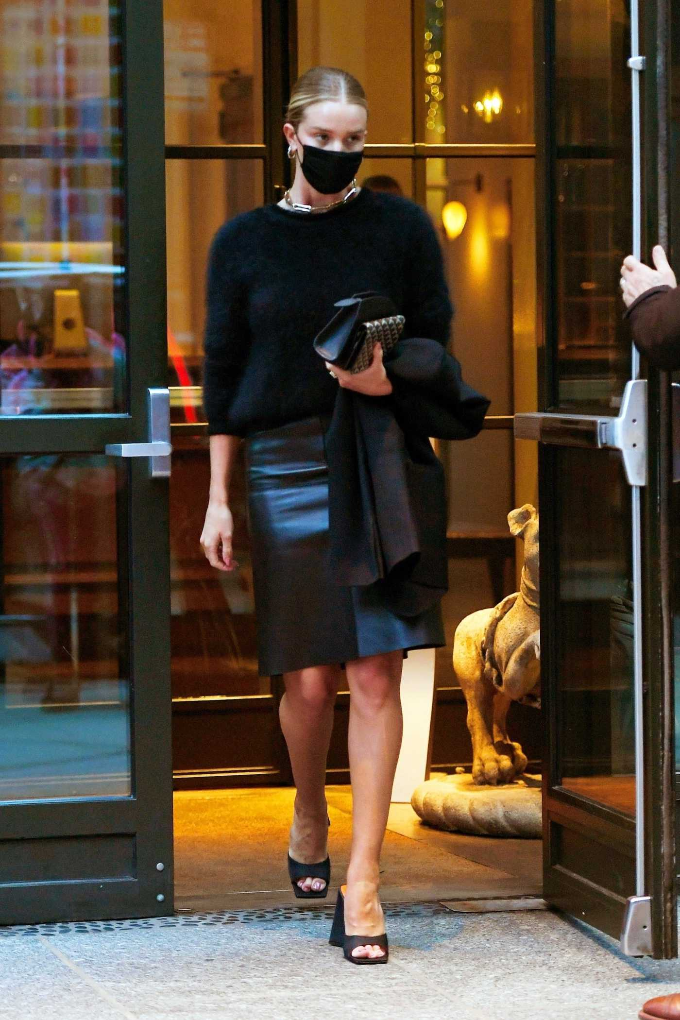 Rosie Huntington-Whiteley in a Black Leather Skirt Was Seen Out in New York 04/13/2021
