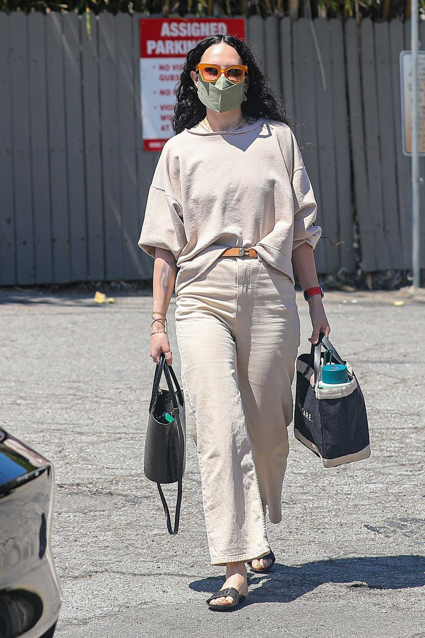 Rumer Willis in a Beige Outfit Heads to the Hair Salon in West Hollywood 04/07/2021