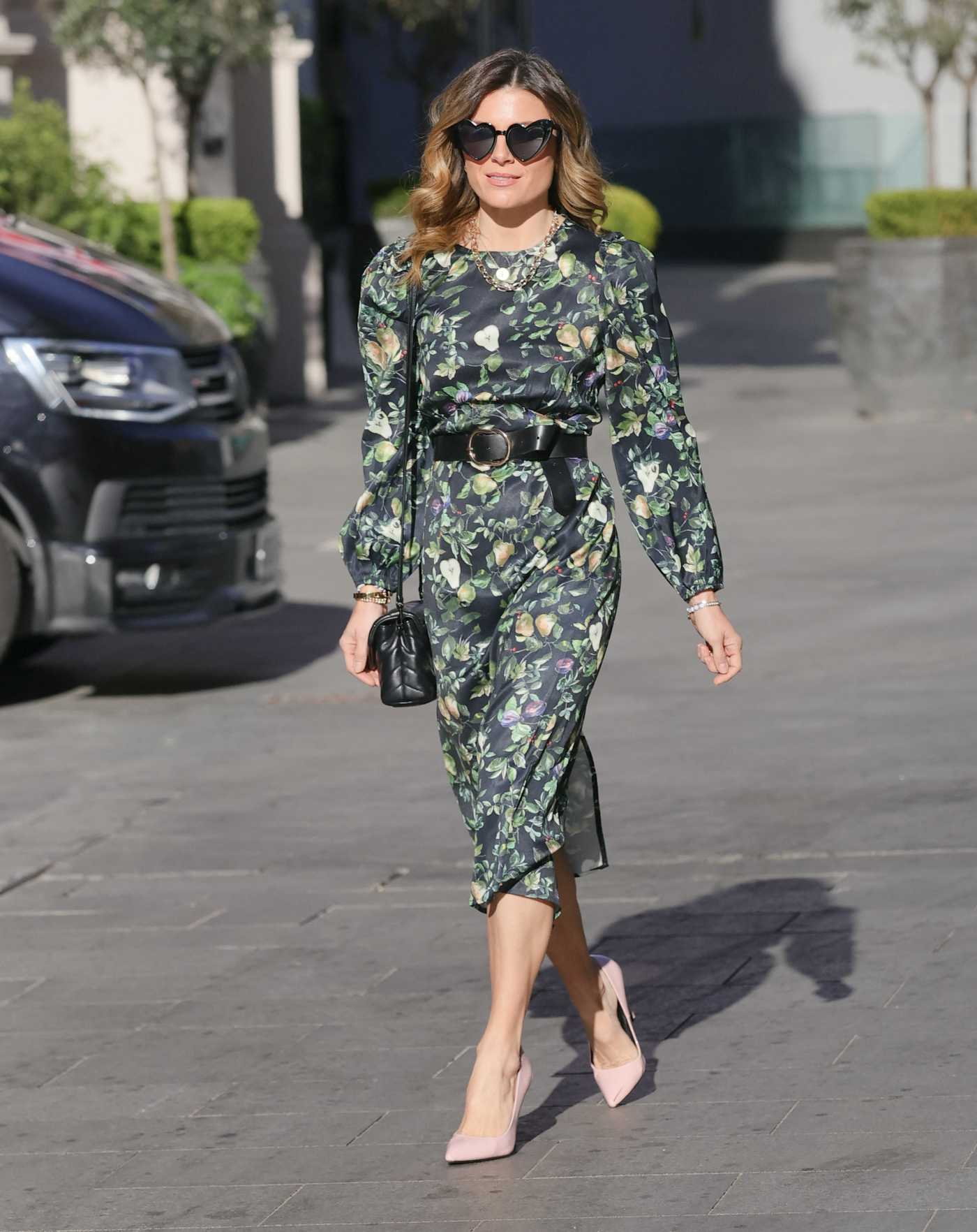 Zoe Hardman in a Green Floral Summer Dress Arrives at the Global Offices in London 04/18/2021
