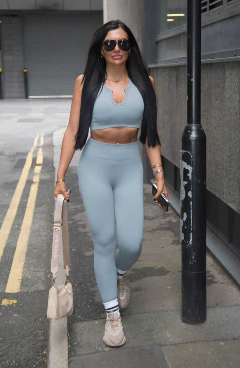 Abbie Holborn in a Grey Workout Ensemble