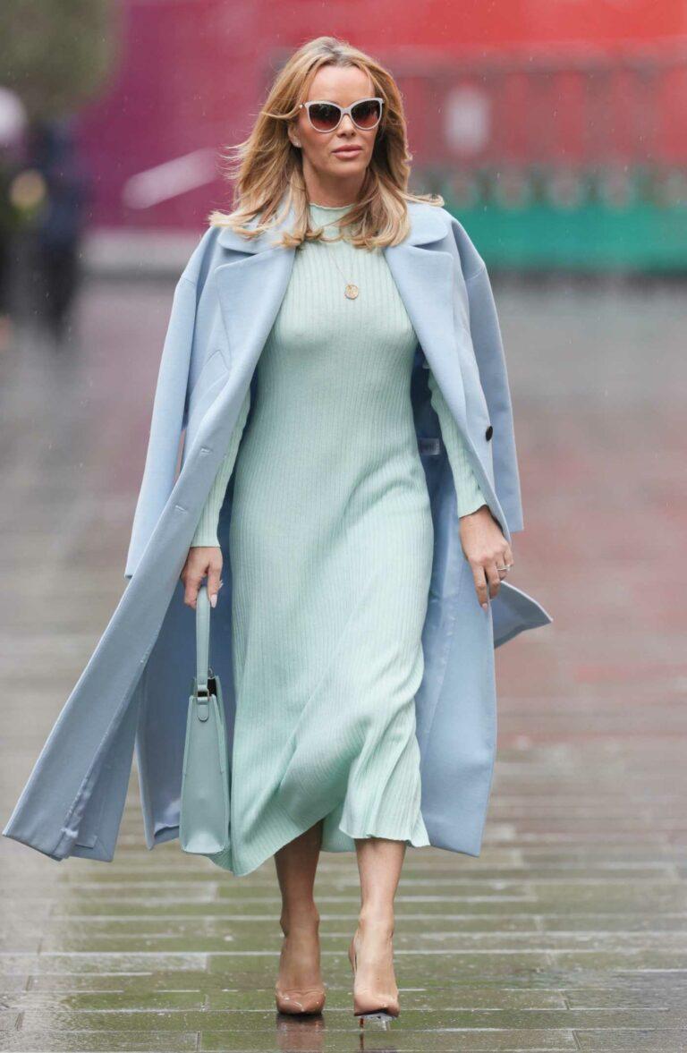Amanda Holden in a Blue Coat