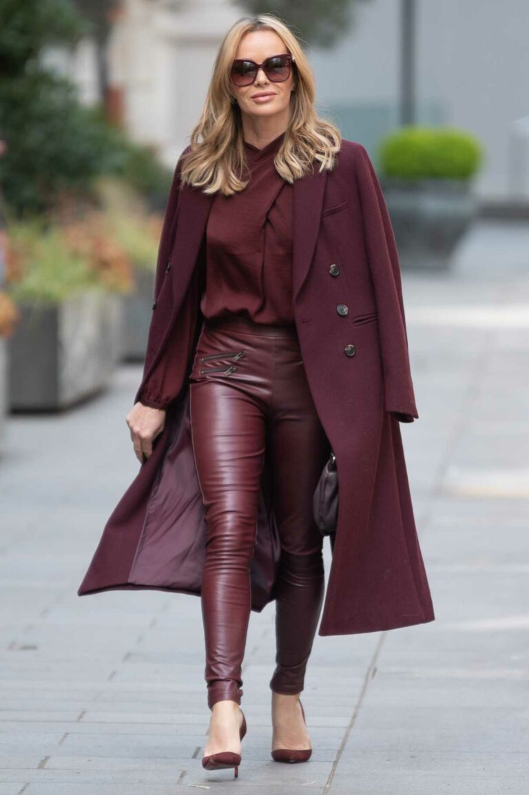 Amanda Holden in a Burgundy Outfit