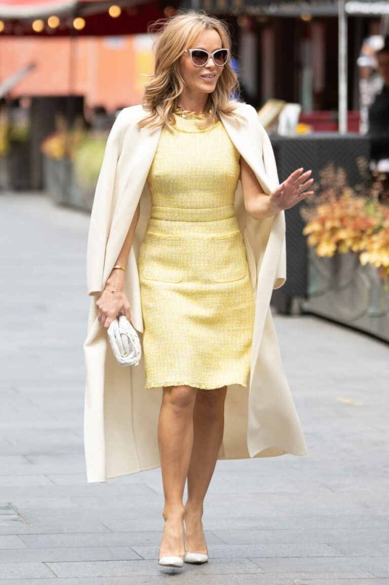 Amanda Holden in a Classy Yellow Dress