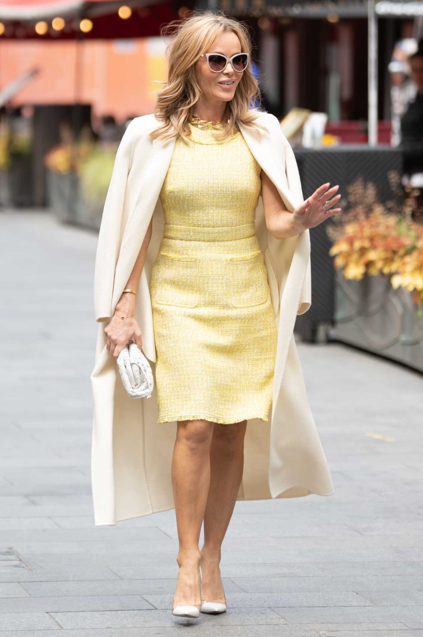 Amanda Holden in a Classy Yellow Dress Leaves the Heart Radio in London 05/26/2021