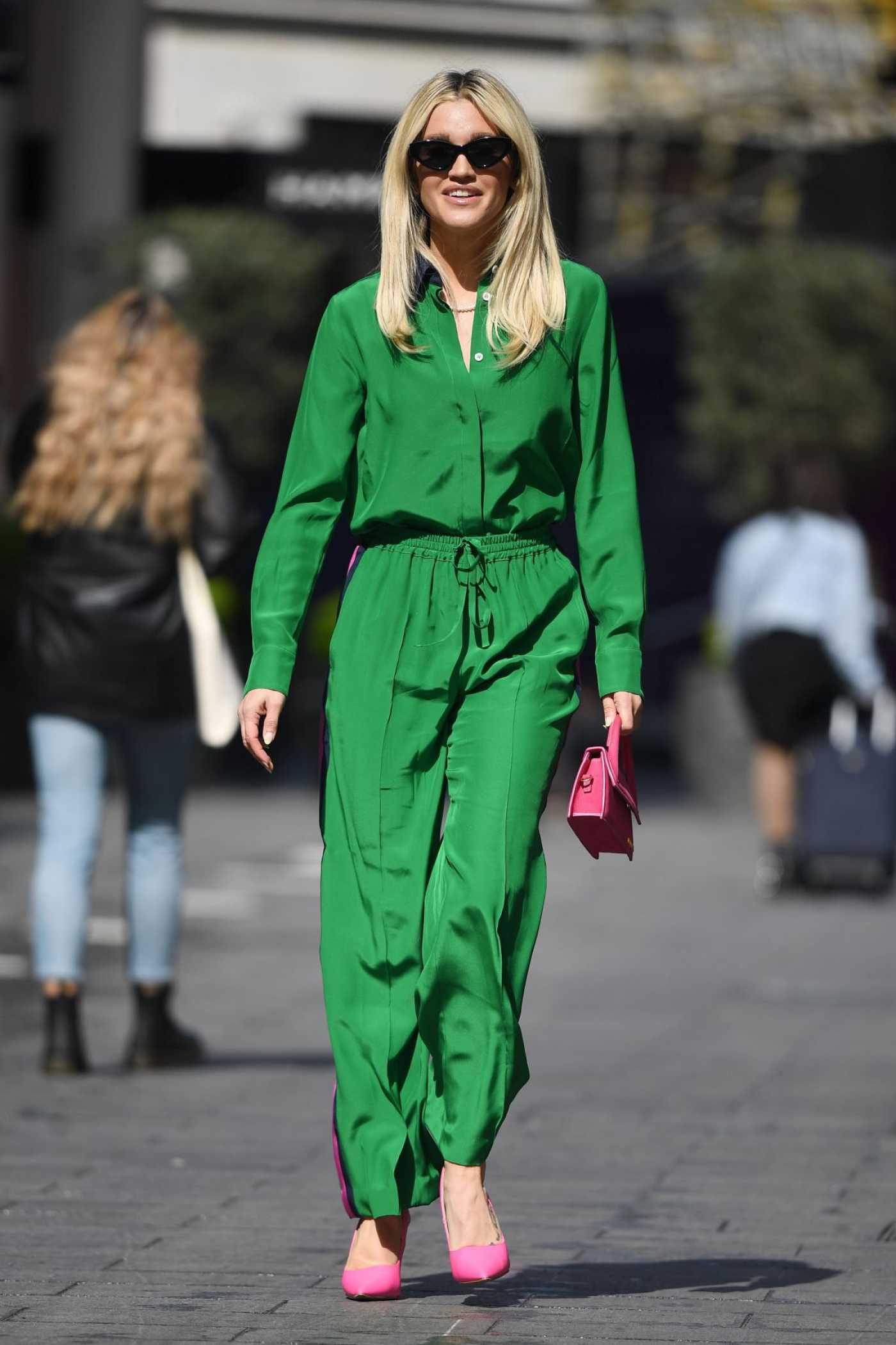 Ashley Roberts in a Green Suit Leaves the Heart Radio in London 05/19/2021