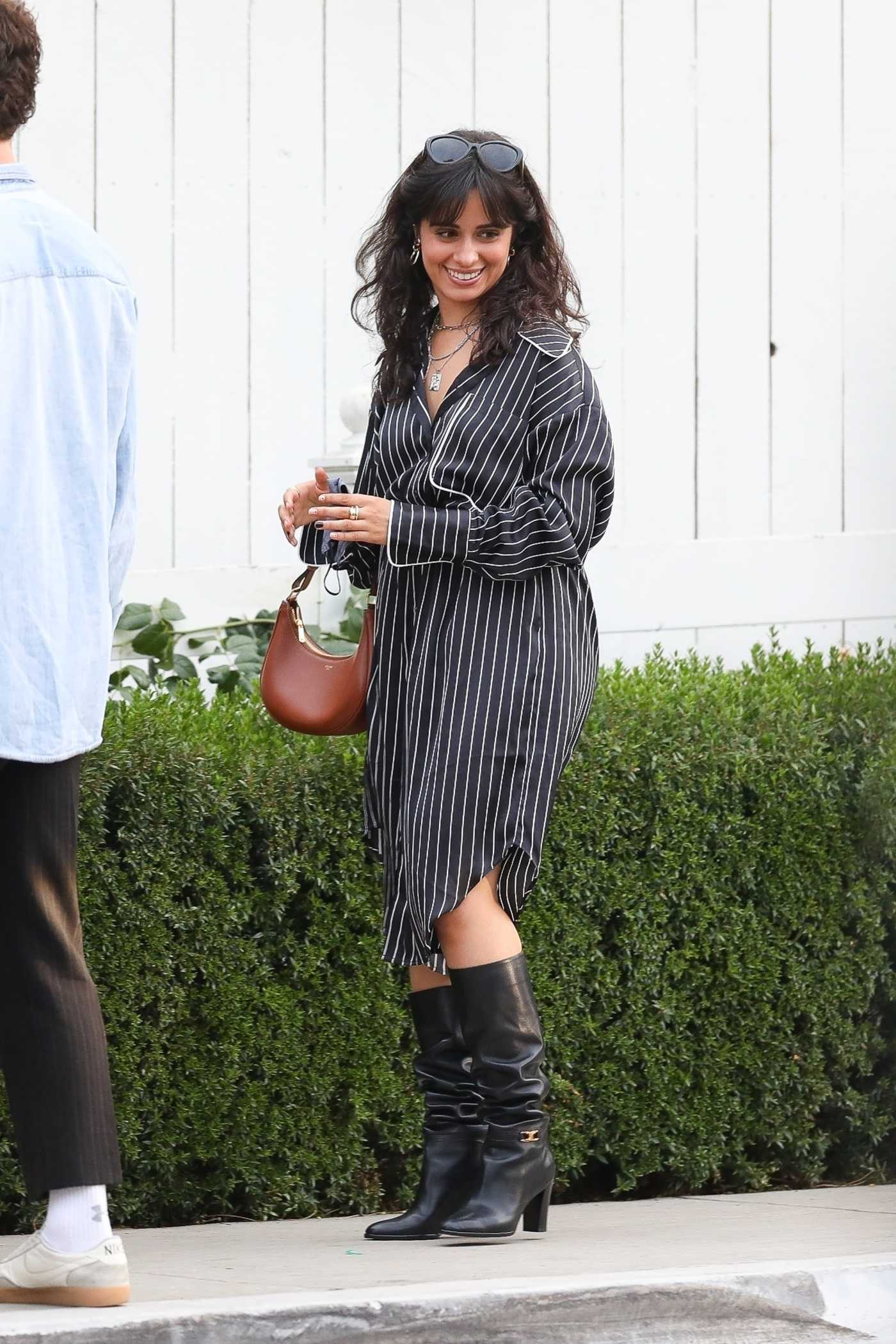 Camila Cabello in a Black Striped Dress Was Seen Out with Shawn Mendes in West Hollywood 05/25/2021