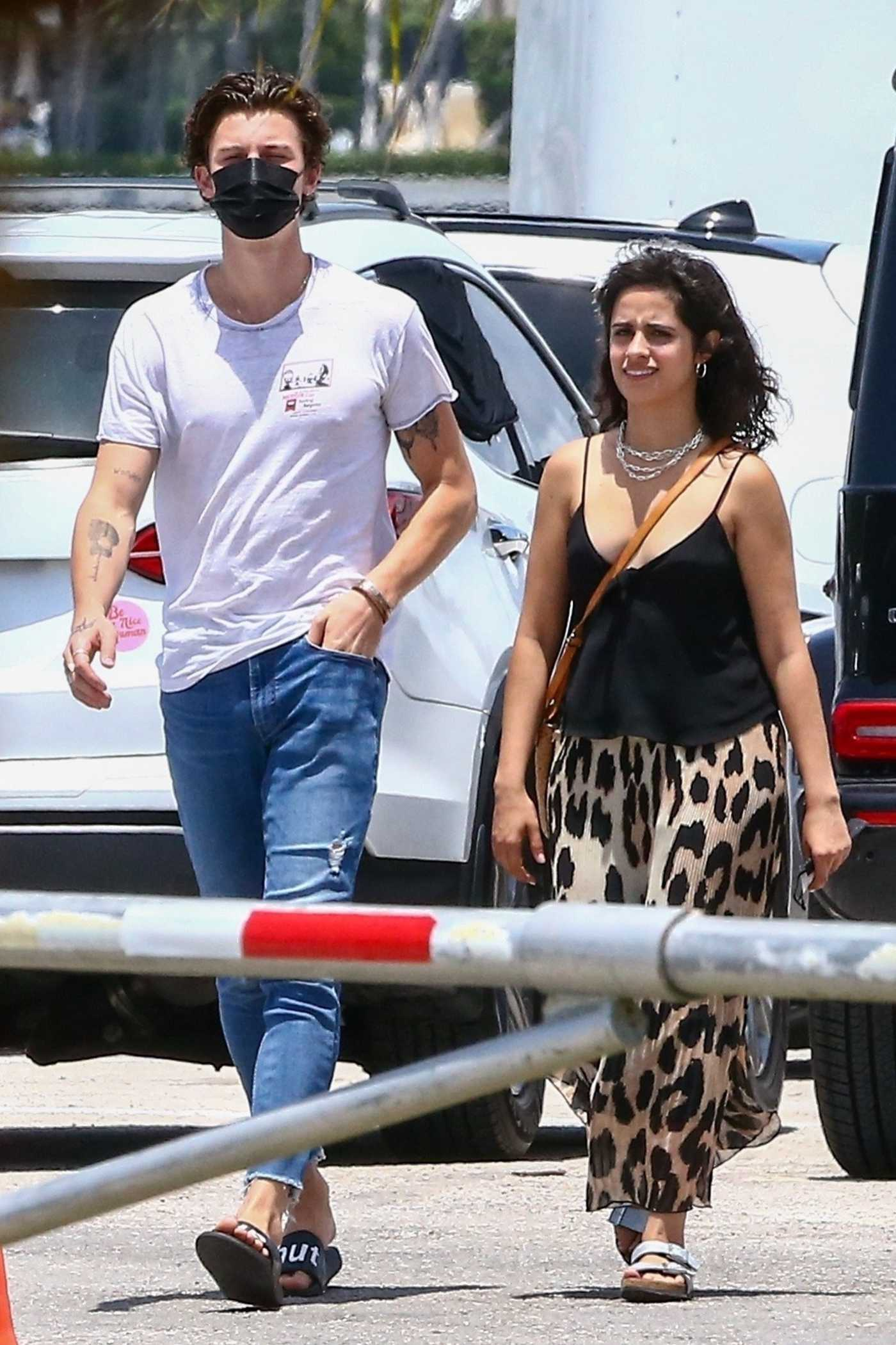 Camila Cabello in an Animal Print Skirt Was Seen Out with Shawn Mendes in Miami 04/29/2021