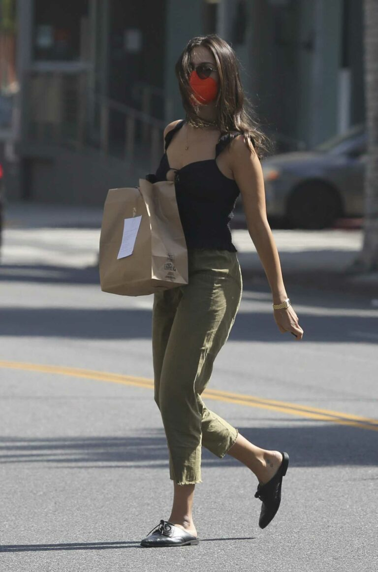 Eiza Gonzalez in a Red Protective Mask