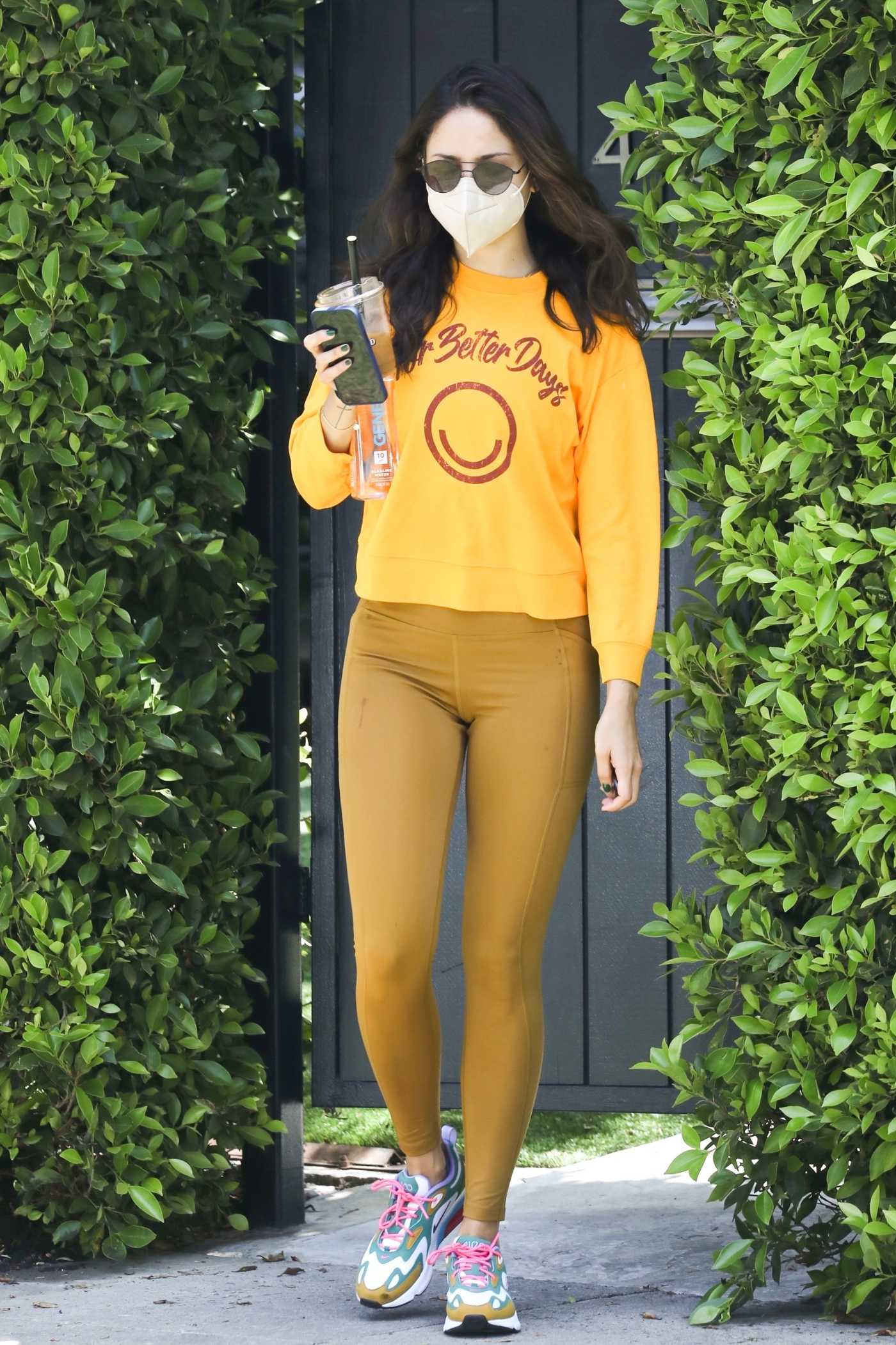 Eiza Gonzalez in a Yellow Sweatshirt Leaves Her Pilates Class in West Hollywood 05/05/2021