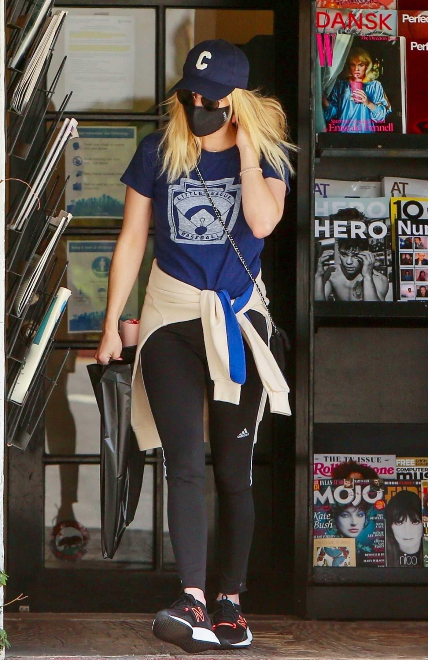 Emma Roberts in a Blue Tee Goes Shopping in Los Feliz 05/02/2021