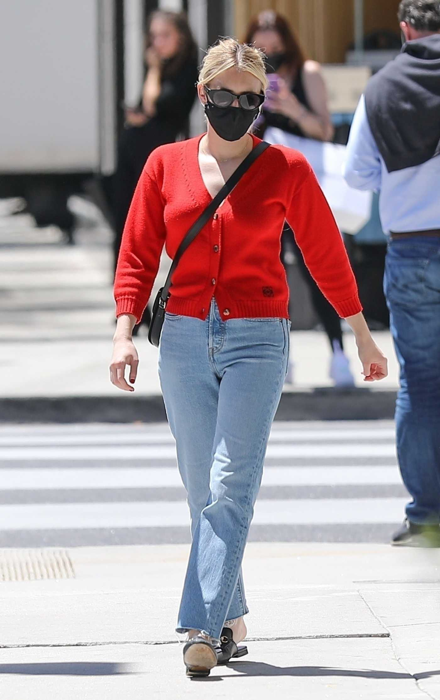 Emma Roberts in a Red Cardigan Heads to Rodeo Dr. in Beverly Hills 04/29/2021