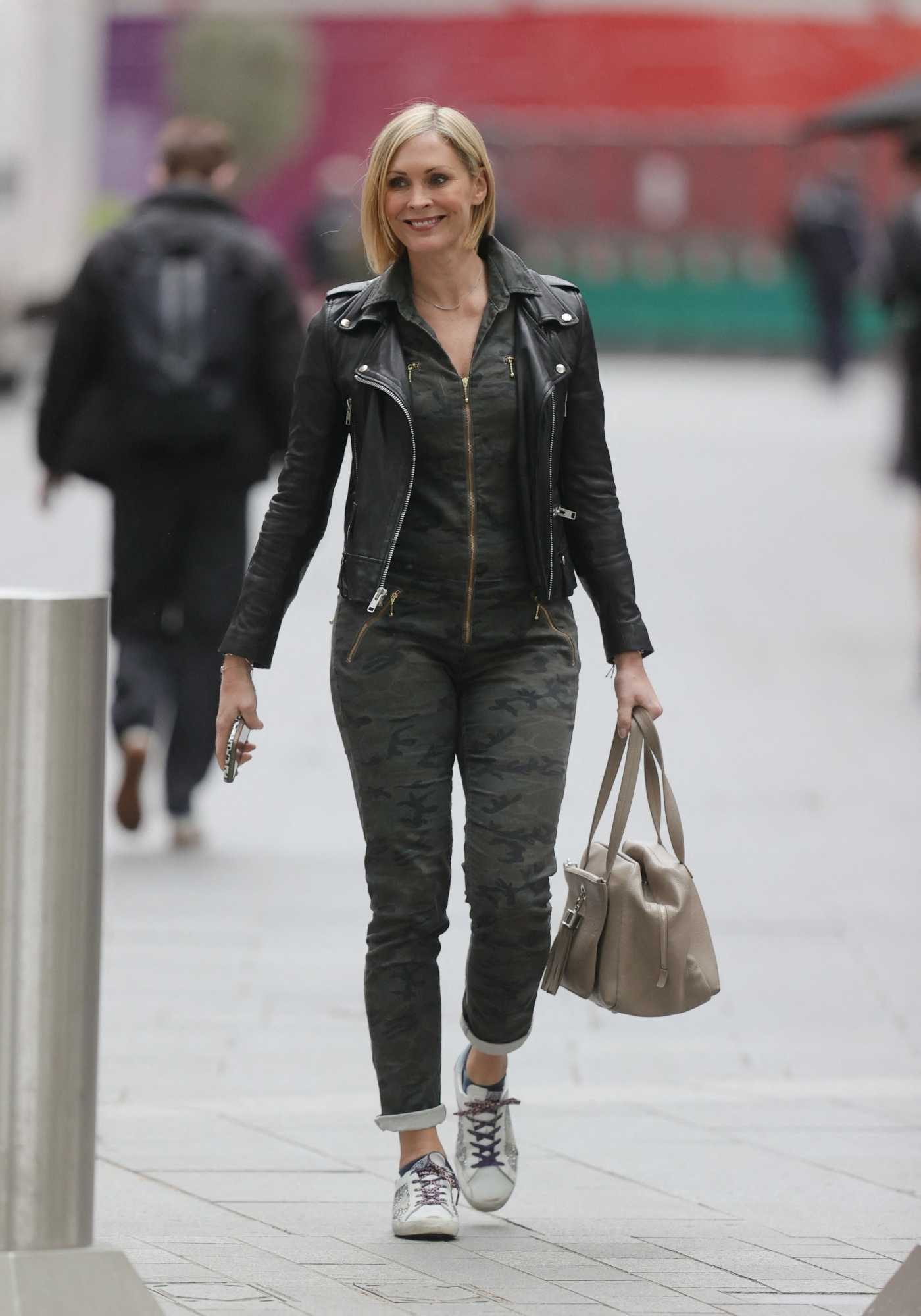 Jenni Falconer in a Black Leather Jacket Arrives at the Smooth Radio in London 05/21/2021