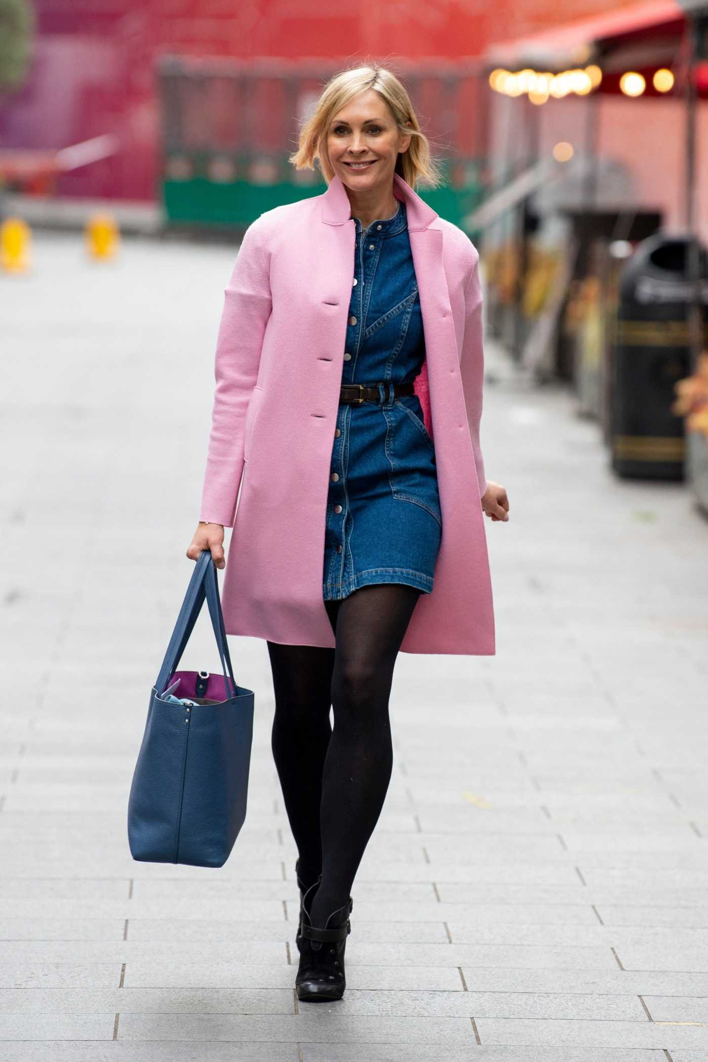 Jenni Falconer in a Pink Coat Arrives at the Global Studios in London 05/14/2021